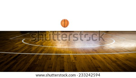 Basketball court with ball over white background - stock photo