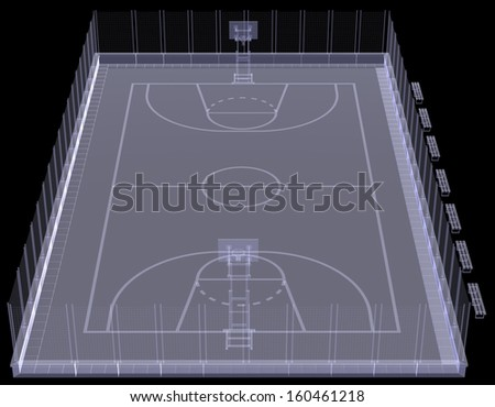 Basketball court. X-ray. 3d render isolated on a black background - stock photo