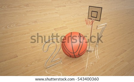 Basketball 3D with Metallic gold on parquet,3d rendering