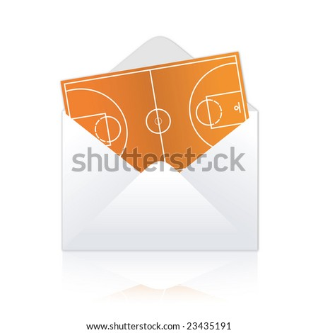 Basketball field delivery illustration