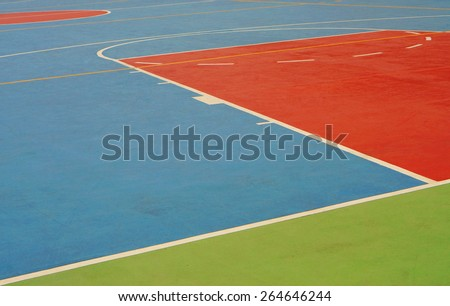 Basketball field has lines and boundaries are clearly marked and orderly.                                - stock photo