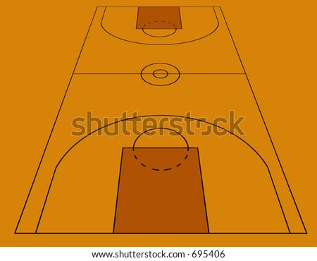 basketball field in perspective - stock photo