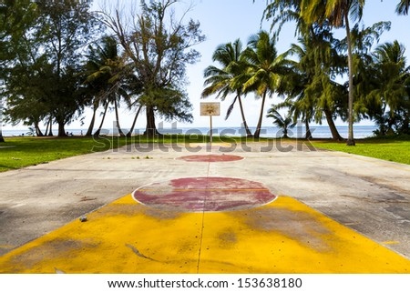 Basketball Field in tropical beach - stock photo