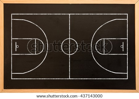 Basketball field plan against blackboard with copy space