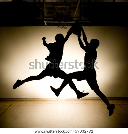 Basketball fight - stock photo