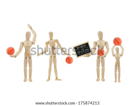 Basketball for Adults and Children, men women boys and girls on blackboard wood mannequins isolated on white background