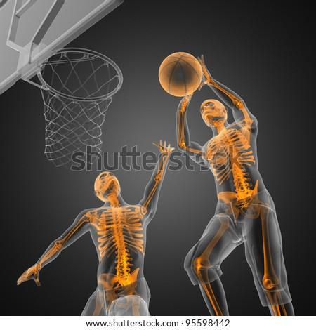 basketball game player made in 3D - stock photo