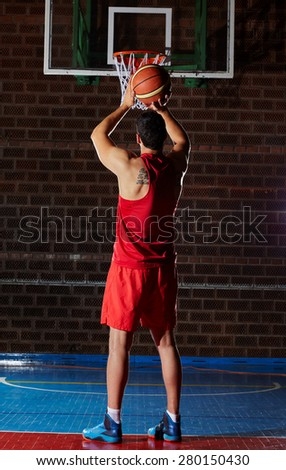 basketball game sport player in action - stock photo