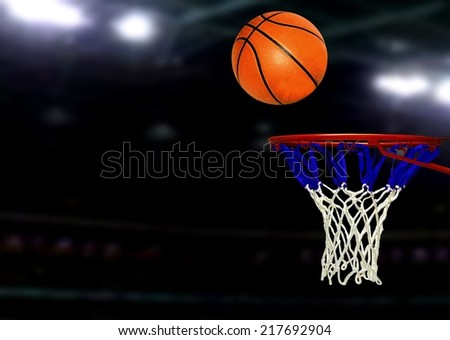 Basketball games under Spotlights - stock photo