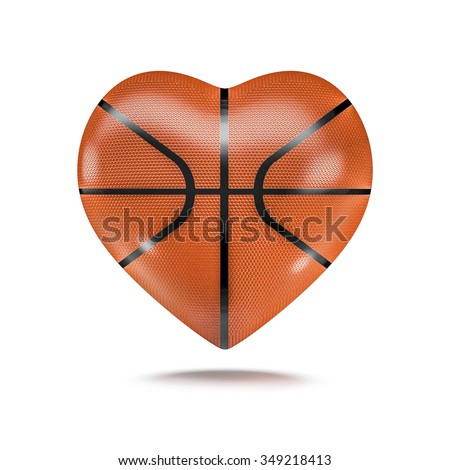 Basketball heart / 3D render of heart shaped basketball