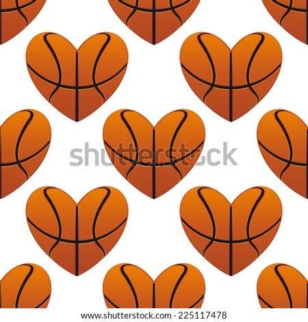 Basketball hearts in a seamless pattern in square format suitable for sports design - stock photo