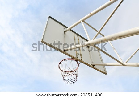 Basketball hoop against the sky. - stock photo