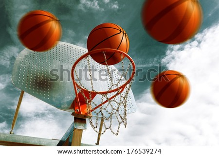 Basketball hoop and several balls. Sport background - stock photo