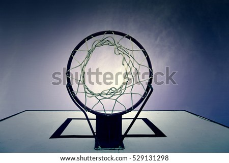 Basketball Hoop, detail of basket in game sports, outdoor sports, healthy life