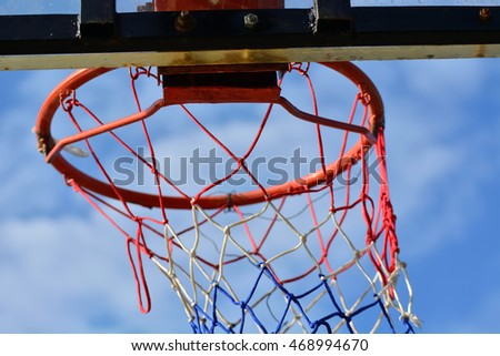 Basketball hoop in low angle view.