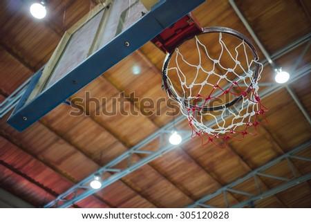 Basketball Hoop in Sport Hall  - stock photo
