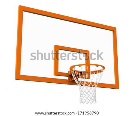 Basketball hoop isolated - stock photo
