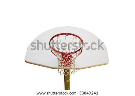 basketball hoop isolated against white background - stock photo
