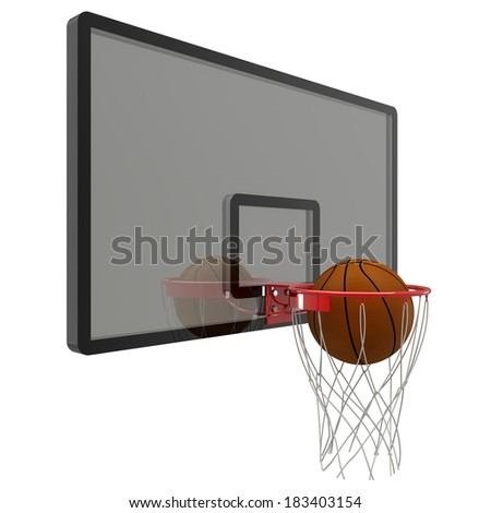 basketball hoop. isolated on white background. 3D image - stock photo