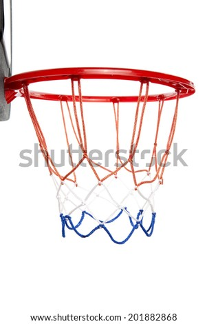 Basketball hoop isolated white background - stock photo