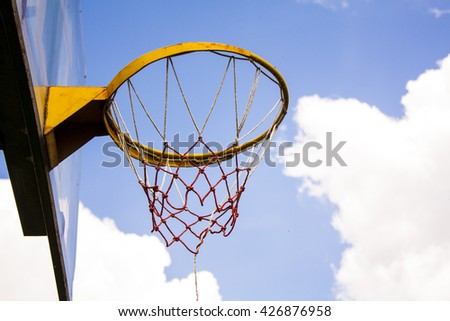 Basketball hoop on the sky background