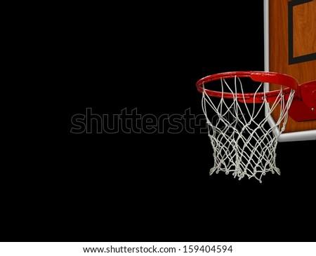 Basketball Hoop over Black - stock photo