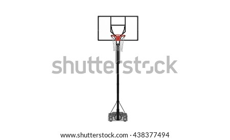 Basketball hoop, sports equipment isolated on white background, front view, 3D illustration