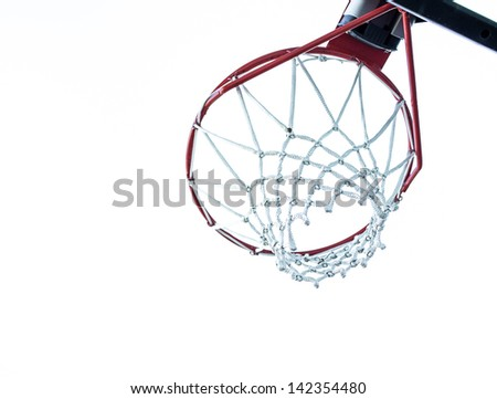 Basketball Hoop Underneath. a shot of a basketball hoop and rim from below on white - stock photo