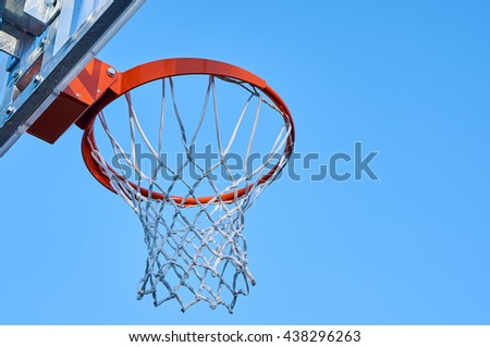Basketball hoop with net.