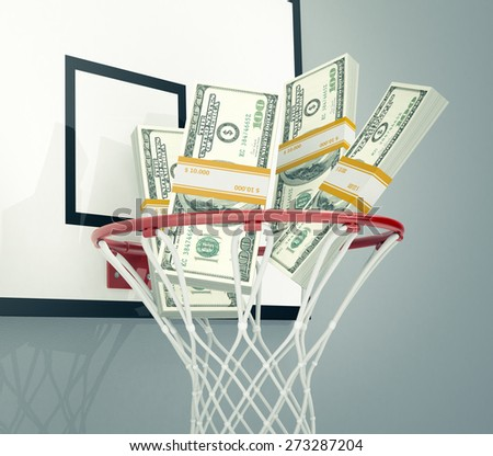 basketball hoop with stacks of banknotes, concept of sport and money, or betting (3d render) - stock photo
