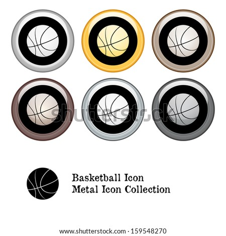 Basketball Icon Metal Icon Set.  Raster version. - stock photo