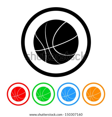 Basketball Icon with Color Variations.  Raster version - stock photo