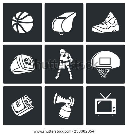 Basketball Icons Set - stock photo