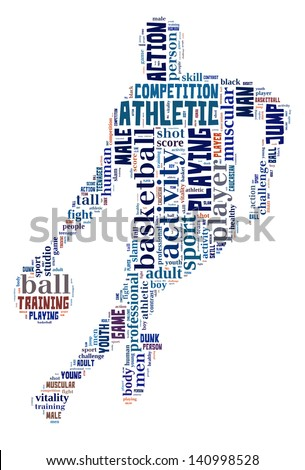 Basketball info-colorful text graphic and arrangement concept on white background (word cloud) - stock photo