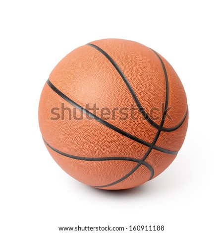 Basketball isolated on a white background. Clipping path included. - stock photo