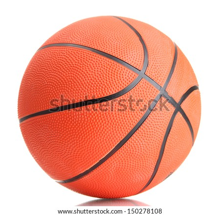 Basketball isolated on white - stock photo