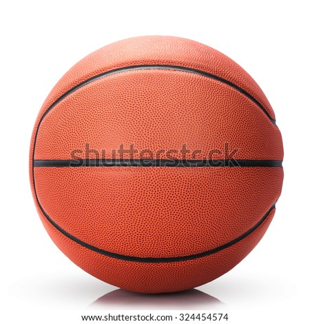 Basketball isolated on white background as a symbol of sport, exercise, leisure activities, team players with dribbling and passing the ball in competitive match tournaments. This has clipping path.  - stock photo