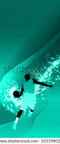 Basketball jump background with space (poster, web, leaflet, magazine) - stock photo
