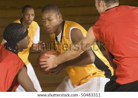 Basketball match, (close-up) - stock photo