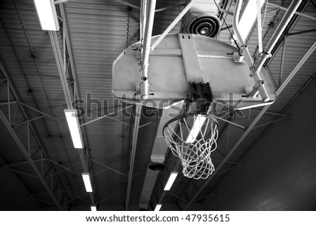 Basketball Net in School Gymnasium - stock photo