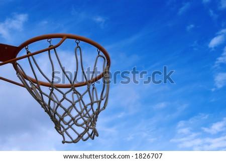 basketball net under bue sky - stock photo