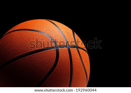 Basketball on black background