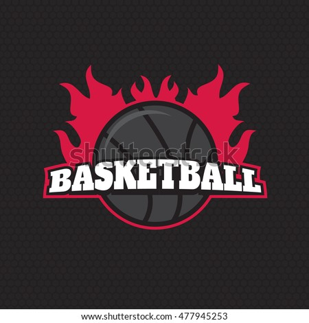 Basketball on fire tournament logo. Basketball logotypes, sign, symbol badge