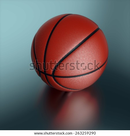 Basketball on the dark background, close up scene - stock photo