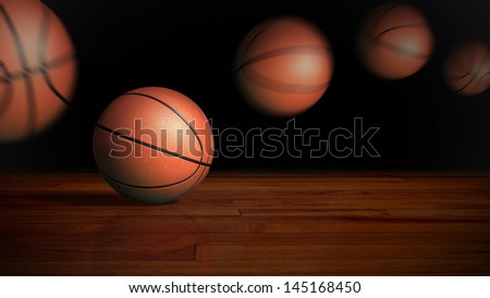 basketball on the wood floor graphic background
