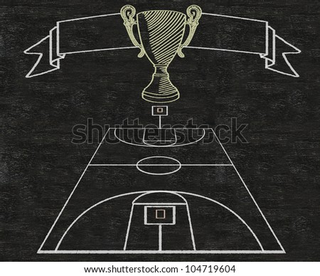 basketball on vintage banner and color line match written on blackboard background high resolution, easy to use - stock photo