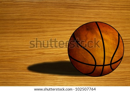 Basketball  on wooden floor