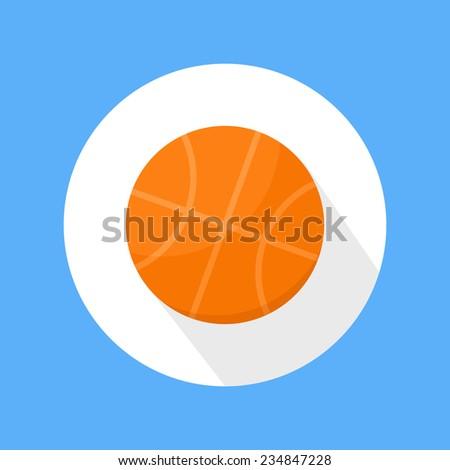 Basketball orange ball icon on blue background . Flat style. Raster version - stock photo