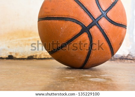Basketball over floor. Close up. - stock photo