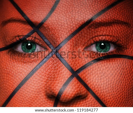 Basketball pattern on woman face